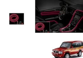 Kunjzone Car Interior Ambient Wire Decorative LED Light Red For Tata Sumo type 1