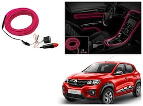 Kunjzone Car Interior Ambient Wire Decorative LED Light Pink For Renault Kwid