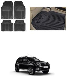 KunjZone Car Foot Heavy Duty Rubber Floor Mat Black Set of 4 For - Renault Duster