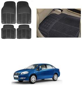 KunjZone Car Foot Heavy Duty Rubber Floor Mat Black Set of 4 For - Fiat Linea