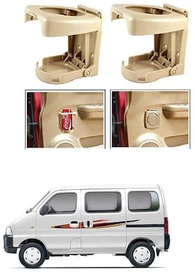 KunjZone Foldable Car Drink/Can/Glass/Bottle Holder Set of 2 Beige for Maruti Suzuki Eeco