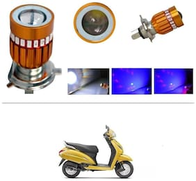 KunjZone H4 Police Light Style Red & Blue Cree Projector LED Super & Low Beam Bike Headlight Bulb For Honda Activa 5G