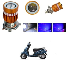 KunjZone H4 Police Light Style Red & Blue Cree Projector LED Super & Low Beam Bike Headlight Bulb For Honda Activa 3G