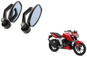 KunjZone Handle Oval Mirror Set of 2 For TVS Apache rtr 160 4v Black