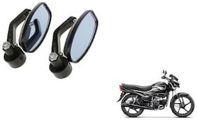 KunjZone Handle Oval Mirror Set of 2 For Hero super splendor Black