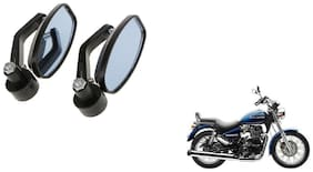KunjZone Handle Oval Mirror Set of 2 For Royal Enfield Thunderbird 350 Black