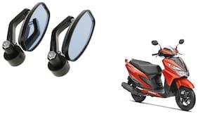 KunjZone Handle Oval Mirror Set of 2 For Honda Grazia Black