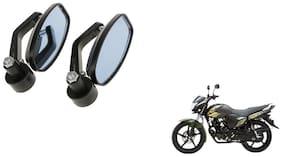 KunjZone Handle Oval Mirror Set of 2 For Yamaha Saluto Black