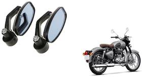KunjZone Handle Oval Mirror Set of 2 For Royal Enfield Classic Gunmetal Grey Black