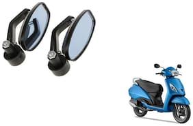 KunjZone Handle Oval Mirror Set of 2 For TVS Jupiter Black
