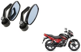 KunjZone Handle Oval Mirror Set of 2 For Hero Glamour Black