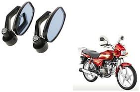 KunjZone Handle Oval Mirror Set of 2 For Hero Spender plus Black