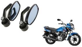 KunjZone Handle Oval Mirror Set of 2 For Yamaha Saluto RX Black