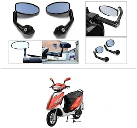 KunjZone Premium Quality Motorycle Bar End Mirror Rear View Mirror Oval For TVS Scooty Streak