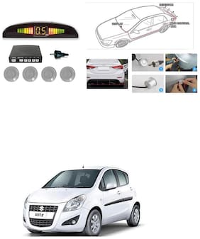 KunjZone Premium Quality Reverse Car Talking Parking Sensors (Silver) with LCD DisplayMaruti Suzuki Ritz