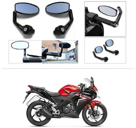 KunjZone Premium Quality Motorycle Bar End Mirror Rear View Mirror Oval For Honda CBR 150R
