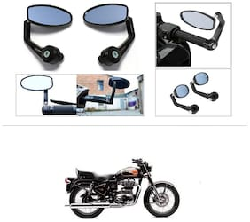 KunjZone Premium Quality Motorycle Bar End Mirror Rear View Mirror Oval For Royal Enfield Bullet 500