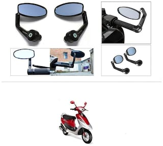 KunjZone Premium Quality Motorycle Bar End Mirror Rear View Mirror Oval For TVS Scooty Pep+