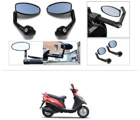 KunjZone Premium Quality Motorycle Bar End Mirror Rear View Mirror Oval For Mahindra Flyte
