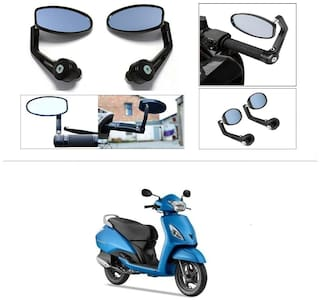 KunjZone Premium Quality Motorycle Bar End Mirror Rear View Mirror Oval For TVS Jupiter