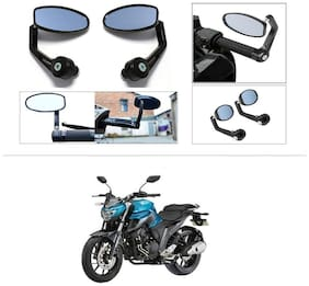 KunjZone Premium Quality Motorycle Bar End Mirror Rear View Mirror Oval For Yamaha FZ