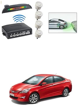 KunjZone Premium Quality Reverse Car Talking Parking Sensors (White) with LCD Display-Hyundai Verna Transform