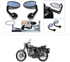 KunjZone Premium Quality Motorycle Bar End Mirror Rear View Mirror Oval For Royal Enfield Twin spark