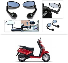 KunjZone Premium Quality Motorycle Bar End Mirror Rear View Mirror Oval For Mahindra Gusto