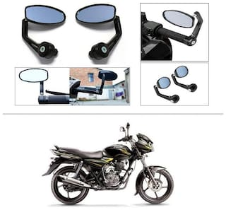 KunjZone Premium Quality Motorycle Bar End Mirror Rear View Mirror Oval For Bajaj Discover 100 DTS-i