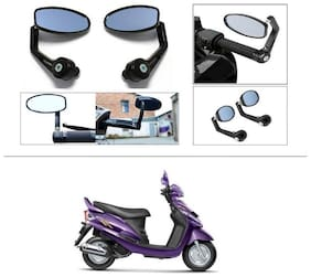 KunjZone Premium Quality Motorycle Bar End Mirror Rear View Mirror Oval For Mahindra Rodeo RZ