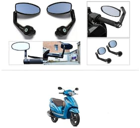KunjZone Premium Quality Motorycle Bar End Mirror Rear View Mirror Oval For TVS Wego