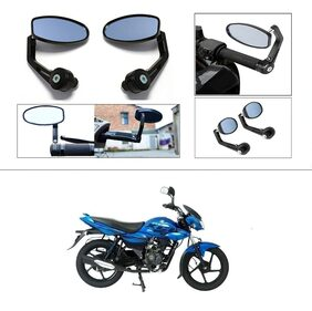 KunjZone Premium Quality Motorycle Bar End Mirror Rear View Mirror Oval For Bajaj XCD 125cc