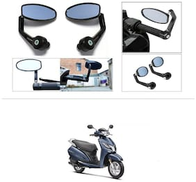 KunjZone Premium Quality Motorycle Bar End Mirror Rear View Mirror Oval For Honda Activa 125
