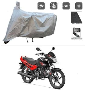 KunjZone Silver Matty Bike Cover (Dust Proof, Scratch Proof, Mirror Pockets, Heavy Buckle) - Hero Glamour FI