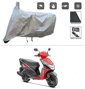 KunjZone Silver Matty Bike Cover (Dust Proof, Scratch Proof, Mirror Pockets, Heavy Buckle) - Honda Dio