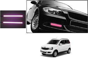 Kunjzone Slim Daytime LED DRL Lights Pink Set Of 2 For Mahindra Quanto