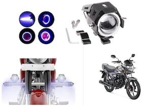 KunjZone Super Power Spot Beam U7 LED Fog Light;With Angle Eyes Light RingThree Mode High Beam 125W CREE Fog Spotlight for Honda CB Shine (1 PC)