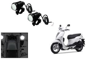 KunjZone U1 LED Motorycle Fog Light Bike Projector Auxillary Spot Beam Light (Set Of 2) For Yamaha Alpha