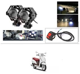 KunjZone U5 CREE LED Driving Fog Light Fog in Aluminum Body With 1 Switch Mounting Brackets 10W;White Light;2 Pcs For Suzuki Access