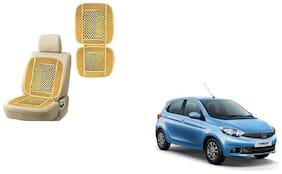 KunjZone Velvet Border Beige Seat Bead Accupressure Design Single piece For Tata Tiago