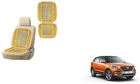 KunjZone Velvet Border Beige Seat Bead Accupressure Design Single piece For Hyundai Creta