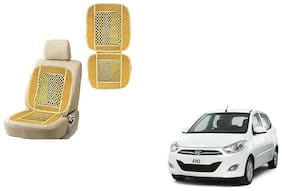 KunjZone Velvet Border Beige Seat Bead Accupressure Design Single piece For Hyundai i10