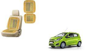 KunjZone Velvet Border Beige Seat Bead Accupressure Design Single piece For Chevrolet Beat