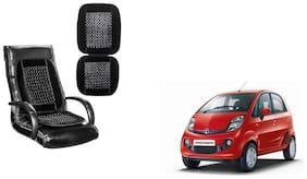 KunjZone Velvet Border Black Seat Bead Accupressure Design Single piece For Tata Nano