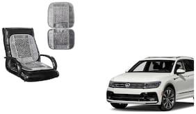 KunjZone Velvet Border Grey Seat Bead Accupressure Design Single piece For Volkswagen Tiguan