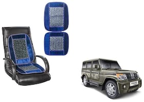 KunjZone Velvet Border Blue Seat Bead Accupressure Design Single piece For Mahindra Bolero type 3