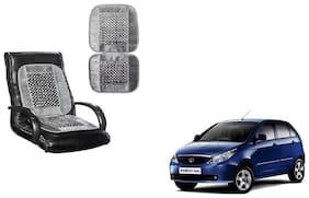 KunjZone Velvet Border Grey Seat Bead Accupressure Design Single piece For Tata Indica Vista