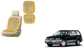 KunjZone Velvet Border Beige Seat Bead Accupressure Design Single piece For Chevrolet forester