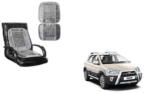 KunjZone Velvet Border Grey Seat Bead Accupressure Design Single piece For Toyota Etios Cross