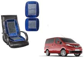 KunjZone Velvet Border Blue Seat Bead Accupressure Design Single piece For Nissan Evalia